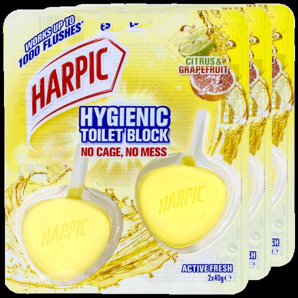 3x Harpic Activ Fresh WC-Stein Hygienic Citrus & Grapefruit 2 Stück