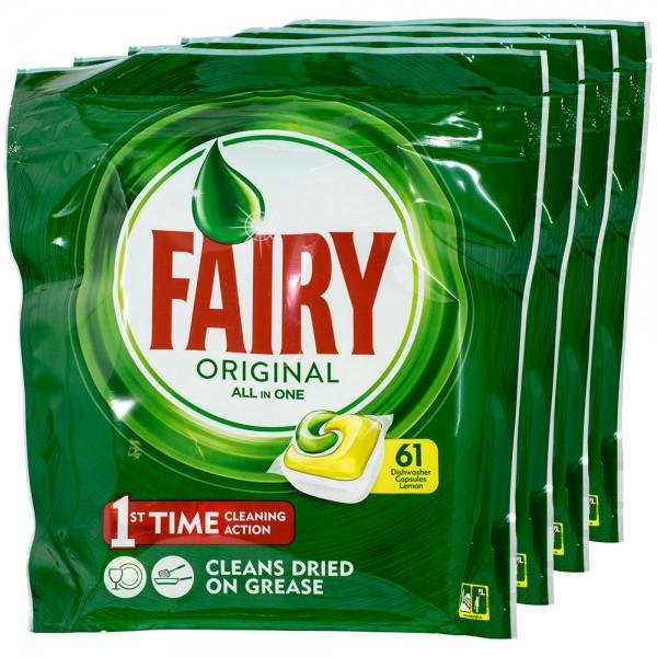 4x Fairy Original All in One Lemon Geschirrspültabs 61 Tabs