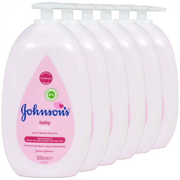 6x Johnson's Baby Lotion Pump 500ml