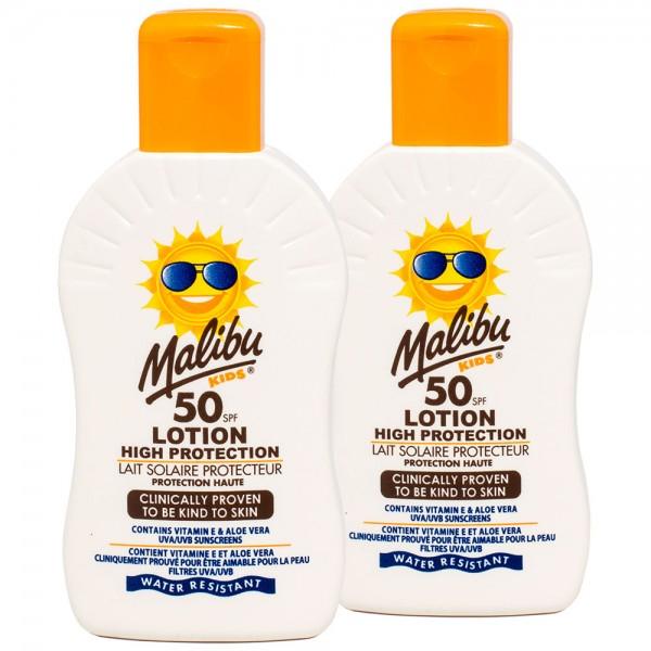 2x Malibu Kids Sonnenlotion SPF50 hoher Sonnenschutz für Kinder 200 ml
