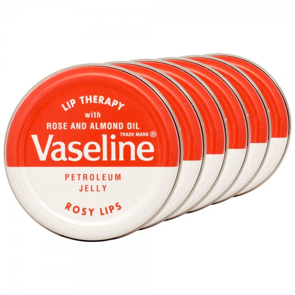 6x Vaseline Lip Therapy Petroleum Jelly Rosy Lips Lippenbalsam 20g