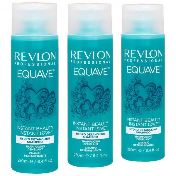 3x Revlon Professional Equave Instant Beauty Hydro Detangling Shampoo 250ml