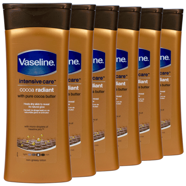 6x Vaseline Intensive Care Cocoa Radiant Body Lotion 400ml