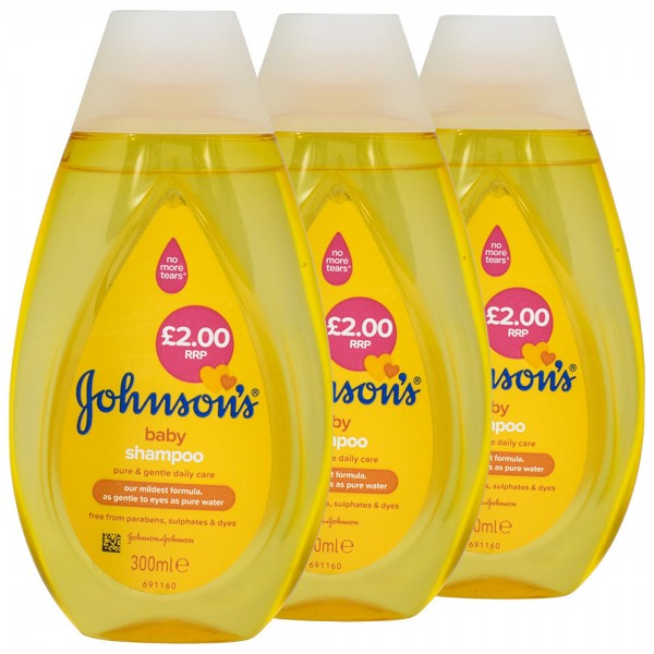 3x Johnson's Baby Shampoo 300ml