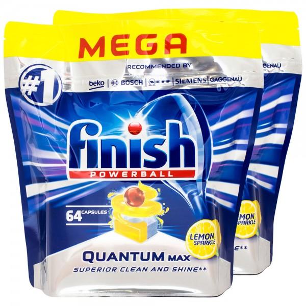 2x Finish Powerball Quantum Lemon MEGA-Pack 64 Tabs