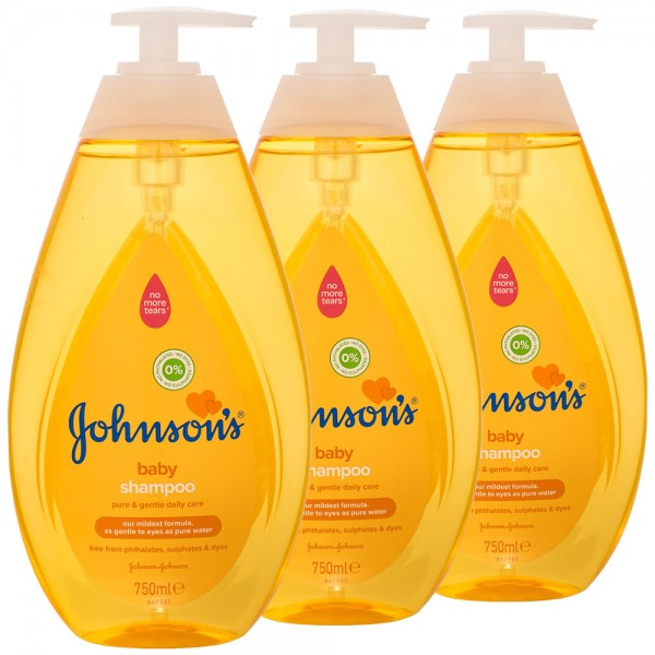 3x Johnson's Baby Shampoo Pump 750ml