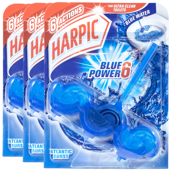 3x Harpic Blue Power 6 WC-Stein Atlantic Burst 39g