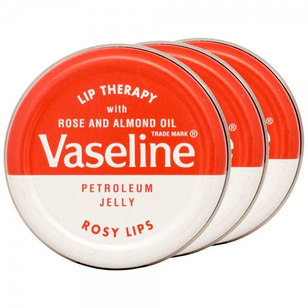 3x Vaseline Lip Therapy Petroleum Jelly Rosy Lips Lippenbalsam 20g