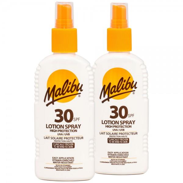 2x Malibu Sonnenlotion Spray SPF30 hoher Sonnenschutz 200 ml