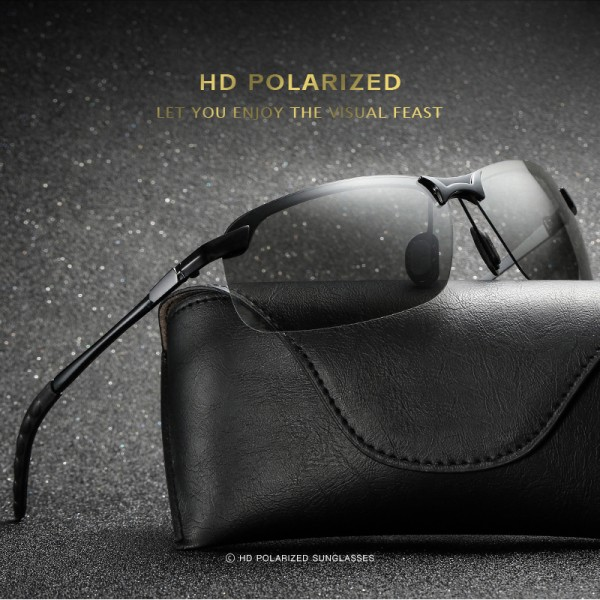 Polarisierte HD-Sonnenbrille Tag/Nacht UV400 Photocromic GUN/Black