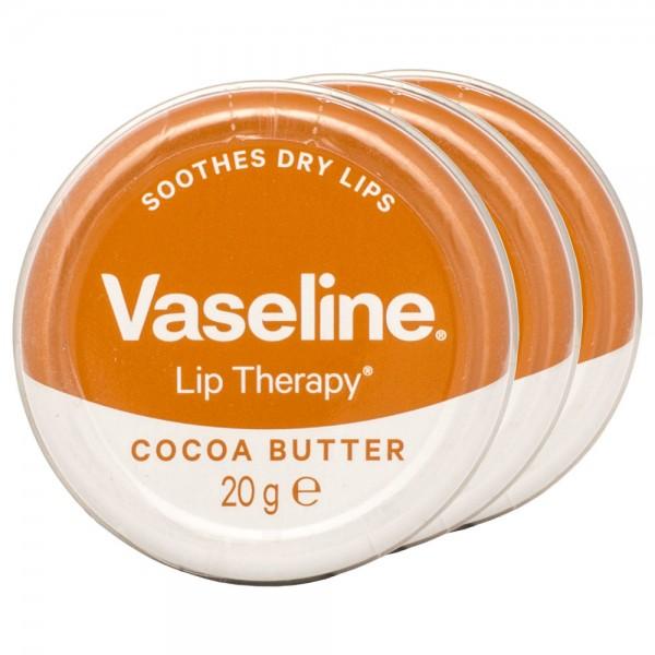 3x Vaseline Lip Therapy Cocoa Butter Lippenbalsam 20g