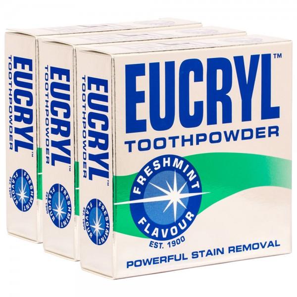 3x Eucryl Freshmint Zahnpuder Fleckenentferner 50g