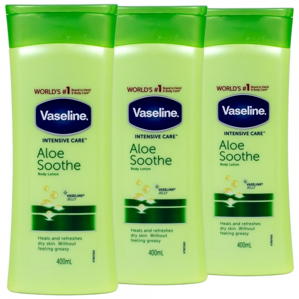 3x Vaseline Intensive Care Aloe Soothe Body Lotion 400ml