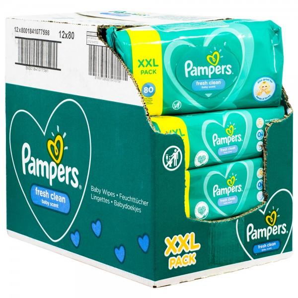 12x Pampers Baby Reinigungstücher fresh clean XXL 80 Stück