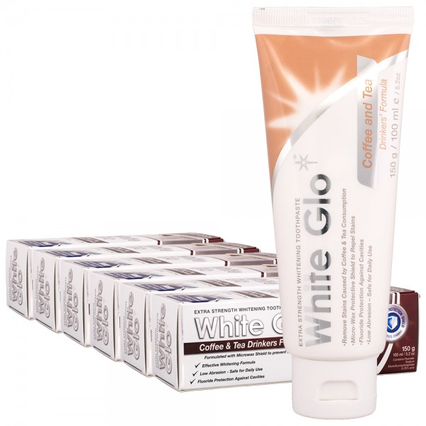 6x White Glo Extra Strength Whitening Zahnpasta für Kaffee & Tee Trinker100ml
