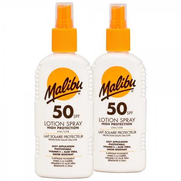 2x Malibu Sonnenlotion Spray SPF50 hoher Sonnenschutz 200 ml