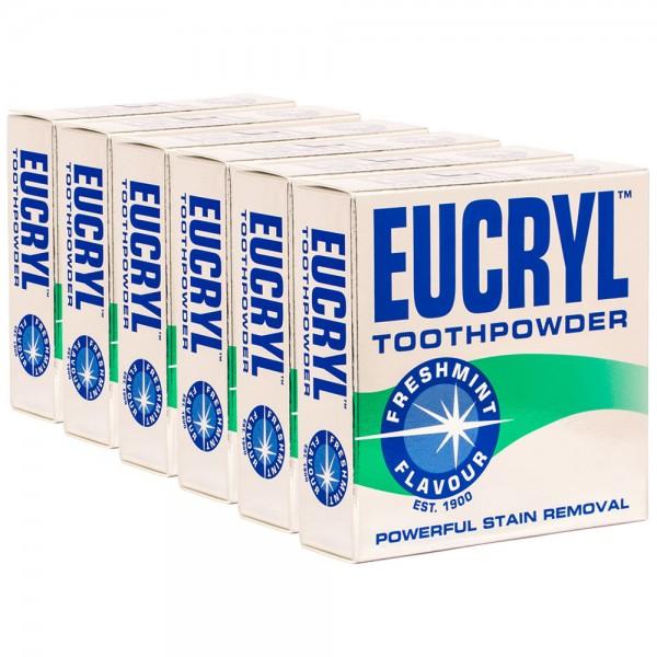 6x Eucryl Freshmint Zahnpuder Fleckenentferner 50g