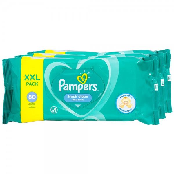 3x Pampers Baby Reinigungstücher fresh clean XXL 80 Stück